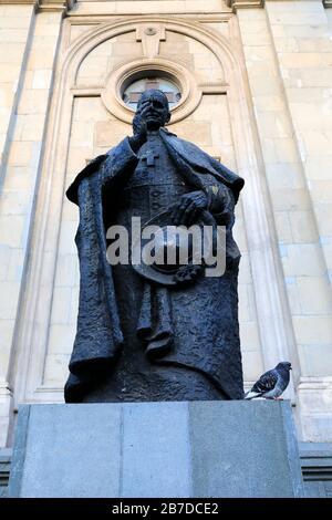 Statue of Cardinal Jose Maria Caro Rodriguez, Santiago Metropolitan Cathedral, Plaza de Armas square, Region Metropolitana, Santiago City, Chile - Stock Photo