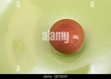 Top view of a freckled egg on a green plate - Stock Photo