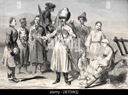 Caucasian people, 19th century - Stock Photo