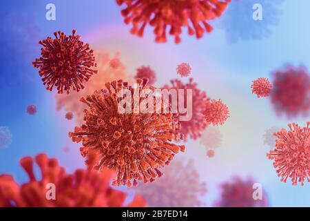 3D illustration of virus / coronavirus / bacteria close-up