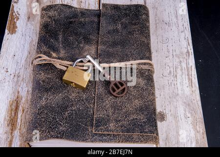old diary with lock and old key Stock Photo