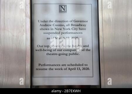 Sign saying Nederlander Theatre closed due to cancellation of Broadway shows until April 13 in wake of Coronavirus, New York City, March 15, 2020 - Stock Photo