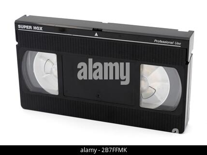 VHS cassette tape cut out isolated on white background - Stock Photo