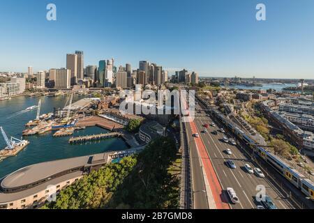 Sydney, Australia, Circular Quay, Traffic and Cityscape, from Harbour Bridge - Stock Photo