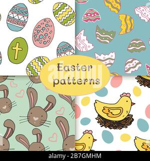 Set of easter patterns, diffrent backgrounds, colorful, various. - Stock Photo