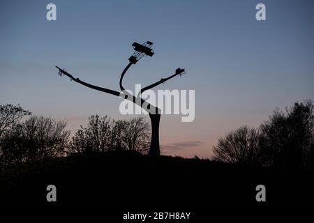 Spirit of Flight memorial airplane monoplane biplane statue at sunset at Lanark Loch, Lanark, Scotland by Ratho Dyres Forge