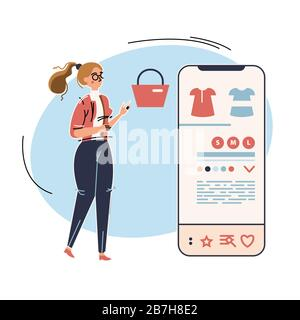 Business vector illustration with working person. Modern flat light style. Woman is shopping via mobile application - Stock Photo