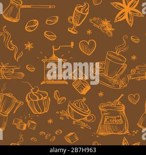 Seamless pattern doodle style coffee theme. Vector hand drawing coffee icons orange color isolated on brown background. Coffee illustration elements. - Stock Photo