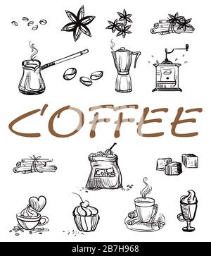 Hand drawing doodle style coffee theme.  Set of vector coffee icons isolated on white background. Coffee illustration elements for your buisness.  Foo - Stock Photo