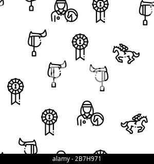 Equestrian Animal Seamless Pattern Vector - Stock Photo