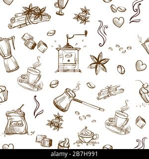 Seamless pattern doodle style coffee theme. Vector hand drawing coffee icons isolated on white background. Coffee illustration elements. Food and drin - Stock Photo