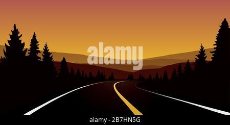 travel road in orange forest autumn landscape vector illustration EPS10 - Stock Photo