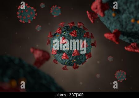 Computer modelled detailed medical illustration of Novel coronavirus 2019-nCoV covid-19. Virus Pandemic Protection Concept. Microbiology close up scen - Stock Photo