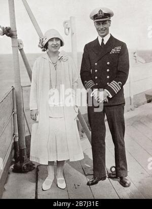 The Duke and Duchess of York aboard the H.M.S. Renown in 1927.  Prince Albert Frederick Arthur George, Duke of York, future George VI, 1895 – 1952.  King of the United Kingdom and the Dominions of the British Commonwealth. Duchess of  York, future Queen Elizabeth, The Queen Mother.  Elizabeth Angela Marguerite Bowes-Lyon, 1900 – 2002.  Wife of King George VI and mother of Queen Elizabeth II.  From King George the Sixth, published 1937.