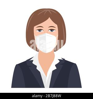 Portrait young business woman in suit wearing face mask on white isolated background. Coronavirus flu virus , Covid 19 protection, vector illustration Stock Photo