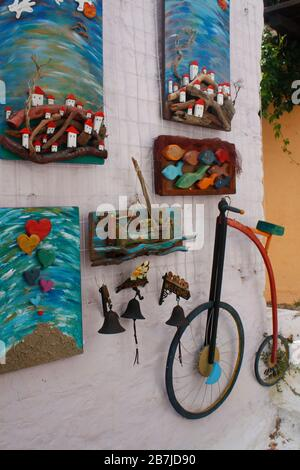 Collage images on outside wall Greece Greek Island Europe - Stock Photo
