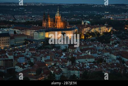 Prague Castle, Saint Vitus Cathedral and Lesser Town (Malá Strana) seen from Petrin Tower at night, in Prague
