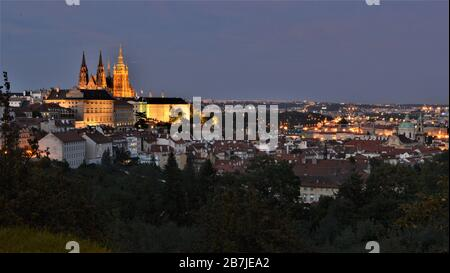 Prague Castle, Saint Vitus Cathedral and Lesser Town (Malá Strana) seen from Petrin Hill at night, in Prague