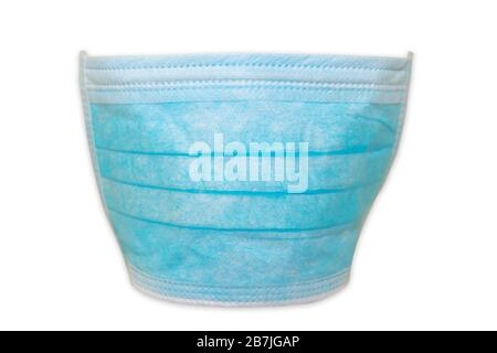 Blue disposable face mask with elastic laces isolated on white background. Concept of flu epidemic and quarantine for public health from COVID 19 - Stock Photo