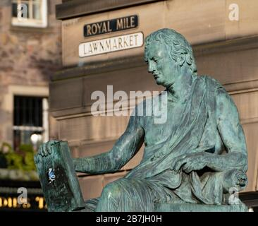 Statue of David Hume on the Royal Mile in Edinburgh Old Town, Scotland,UK - Stock Photo