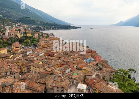 Malcesine on Lake Garda in Italy - Stock Photo