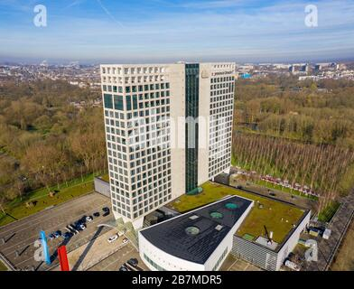 The provincial building (Provinciehuis)of Utrecht, the Netherlands, from the air with the city  Utrecht in the background