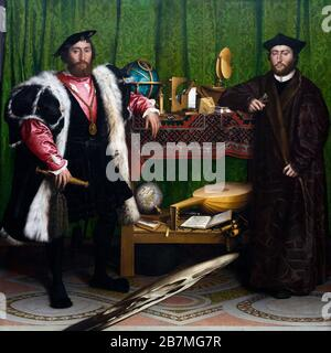 Jean de Dinteville and Georges de Selve, The Ambassadors, Hans Holbein the Younger, 1533, - Stock Photo