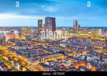 The Hague, Netherlands city centre skyline at twilight. - Stock Photo