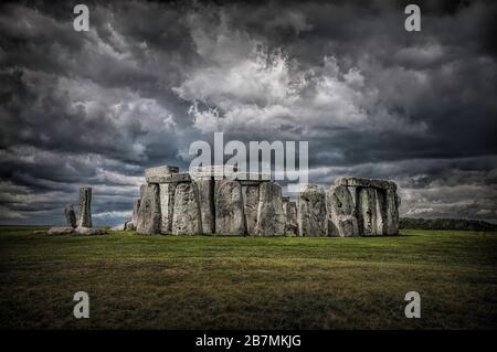 Stonehenge prehistoric monument in Wiltshire UK - Stock Photo