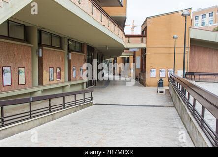 Following the coronavirus outbreak, the italian Government has decided for a massive curfew. Here in particular the empty Università la Sapienza - Stock Photo