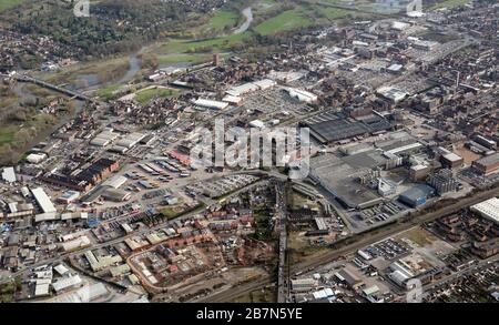 aerial view of the brewery town of Burton on Trent, Staffordshire - Stock Photo