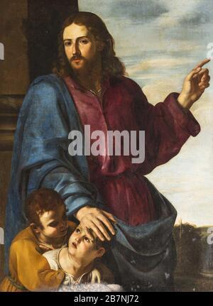 Christ Blessing the Children (Let the little children come to me), c. 1629-1630. Found in the Collection of Basilica dei Santi Ambrogio e Carlo al Corso, Roma. - Stock Photo