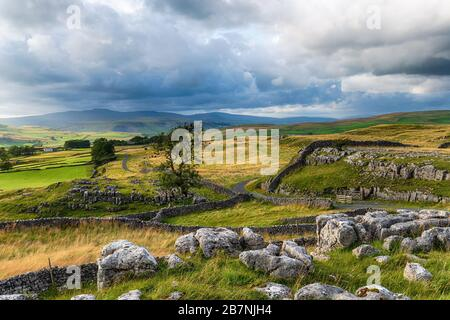 Beautiful view over the Yorkshire Dales at the Winskill Stones near Settle