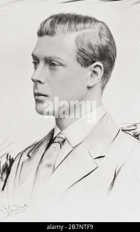 Prince Edward, future Edward VIII, later Duke of Windsor, 1894 –  1972.   From H.R.H. A Character Study of the Prince of Wales, published 1928. - Stock Photo