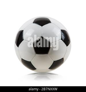 Classic soccer ball, typical hexagon pattern, isolated on white background. Traditional football ball symbol, real studio photo.