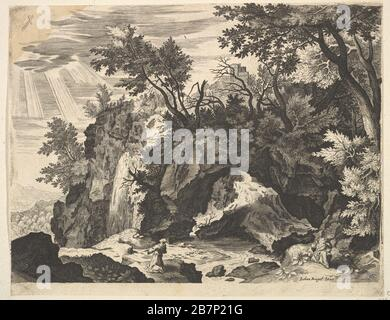 Rocky Landscape with the Stigmatization of St. Francis (reverse copy). - Stock Photo