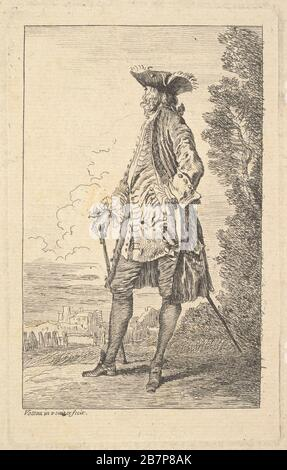 Man walking and carrying a cane in his right hand, shown in three-quarters view with his head turned away from the viewer, from the series 'Figures of fashion' (Figures de modes), ca. 1710. - Stock Photo