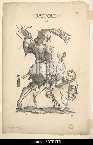 Hurlacher (recto) and Rappold (verso) Families, from Paul Hector Mair's Bericht und anzeigen aller Herren Geschlecht der loblichen Statt Augspurg, mid 16th century. - Stock Photo