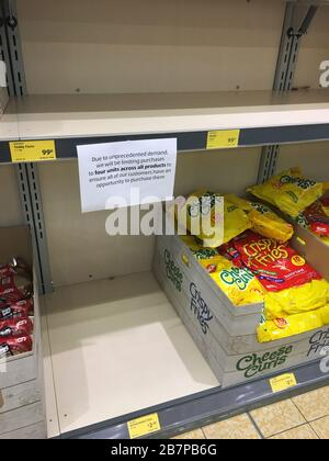 17/03/2020 Coronavirus virus fear pushing panic buying in Supermarket Aldi in  Kent South East UK,