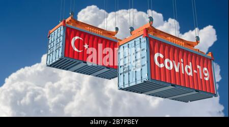 Container with Covid-19 text on the side and container with Turkey Flag. Concept of international trade and travel spreading the Coronavirus - Stock Photo