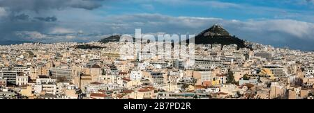 Athens Old Town, Attica/ Greece - 12 28 2019: View over Athens and the Lycabettus hill as taken from the Akropolis hill