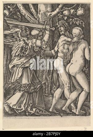 The Expulsion from the Paradise, after Dürer, ca. 1500-1534. - Stock Photo