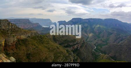 The breathtaking gorge of the Blyde River Canyon in rainy weather - Stock Photo