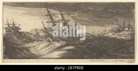 Warship and a spouting whale, 1665. - Stock Photo