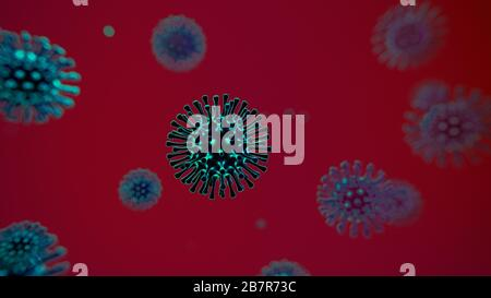 Abstract microscopic view of influenza virus cells, sars, spanish flu, covid19, 2019-ncov 3d illustration backdrop - Stock Photo