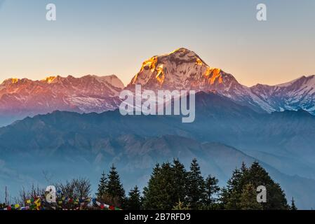 Beautiful view of sunset over the Dhaulagirin mountain range from Poonhill ghorepani Nepal - Stock Photo