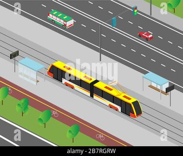 City street in isometric view. Street traffic of motor vehicles and trams. Vector illustration. - Stock Photo