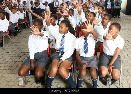 Johannesburg, South Africa - September 19 2013: African Children in Primary School Classroom - Stock Photo