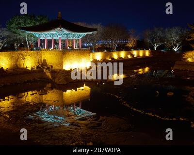 Night view of the ancient korean pavilion with pond, Gyeongju, South Korea - Stock Photo