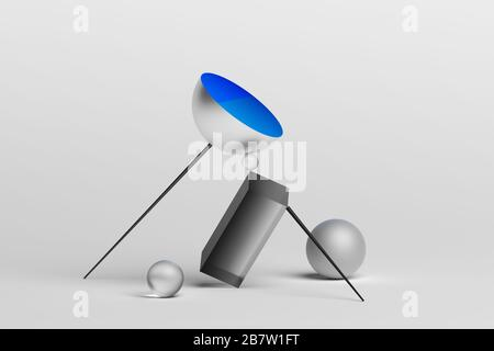 Abstract 3d rendering of geometric shapes. Surreal composition. Balance concept. Modern design for poster, cover, branding, banner, placard